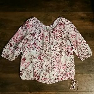 Lucky Brand | Cream & Red Side Tie Top